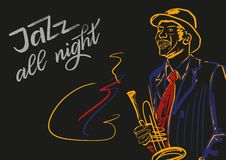 Jazz all night. Illustration for music concerts. stock illustration