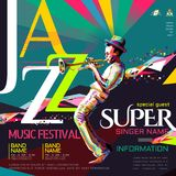 Jazz all night poster Royalty Free Stock Image