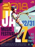 Jazz all night poster Royalty Free Stock Images
