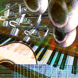 Jazz background. Abstract musical background trumpet guitar and piano vector illustration