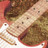Jazz background. Abstract musical background electric guitar and golden notes royalty free illustration