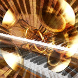 Jazz background. Abstract musical background trumpet guitar and piano royalty free illustration