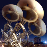 Jazz background. Abstract musical background trumpet guitar and piano Royalty Free Stock Photos