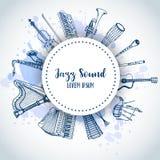 Jazz Background Music Instruments, conception de bannière Tambour, piaono, violon, guitare et saxophone tirés par la main sur la  Photographie stock libre de droits