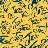 jazz Balayez le stylo marquant avec des lettres le modèle sans couture Inscription d'encre de vecteur Style moderne de calligraph illustration libre de droits