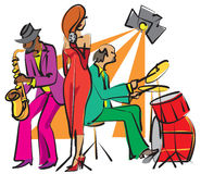 Jazz band. Playing on the stage royalty free illustration