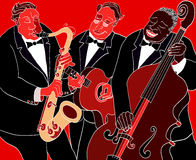 Jazz band. Vector illustration of a Jazz band over red background Stock Photo
