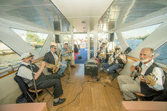 Jazz band. On the cruise steamboat. Taken on the Neva river, St.Petersburg, Russia on August 2012 Royalty Free Stock Photography