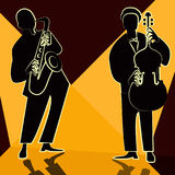 Jazz-band avec le chanteur, saxophone Images stock