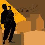 Jazz-band avec le chanteur, saxophone Images libres de droits