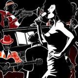 Jazz-band avec le piano de trompette de double-basse Photo stock