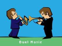 Jazz-band avec un saxophoniste de duel de trompettiste : Vecteur Photo stock
