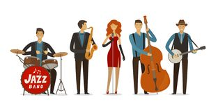 Jazz band. Blues music, musical festival concept. Cartoon vector illustration. Jazz band. Blues music, musical festival concept. cartoon vector stock illustration