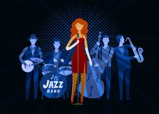 Jazz band. Blues music, musical festival concept. Vector illustration. Jazz band. Blues music, musical festival concept royalty free illustration