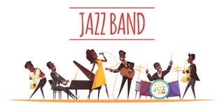 Jazz Band Cartoon Background illustration de vecteur