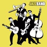 Jazz-band Cinq joueurs de jazz jouant la musique de jazz Photos stock