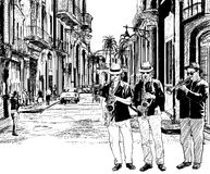 Jazz band in cuba. Illustration of a jazz band in a street of Cuba Stock Image