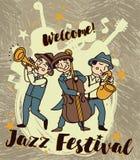 Jazz-band dans le rétro style, affiche de festival de jazz Image stock