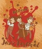 Jazz-band dans le rétro style, affiche de festival de jazz Images stock
