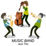 Jazz-band de musiciens, guitare de jeu, bassiste, piano, saxophone Jazz-band Illustration de vecteur sur le fond dans le style de Illustration Stock