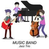 Jazz-band de musiciens, guitare de jeu, bassiste, piano, saxophone Jazz-band Illustration de vecteur sur le fond dans le style de Photo stock
