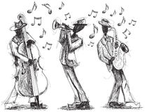 Jazz band doodles. Hand drawn, jazz band with a trumpet player, bassist, and saxophonist vector illustration