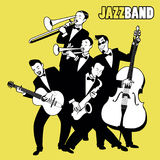 Jazz Band. Five jazz players playing jazz music. Stock Photos