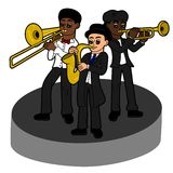 Jazz band kids trio Royalty Free Stock Photo