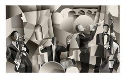 Jazz band in Paris. Cubist style - Vector Illustration stock illustration