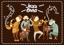 Jazz band playing on saxophones and piano music vector poster Royalty Free Stock Image