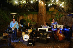 Jazz band plays under lighted tree Stock Photos
