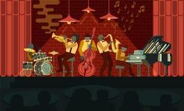 Jazz Band que juega en piano, el saxof?n, el doble-bajo, el cucurucho y los tambores de los instrumentos del musicail en Jazz Bar ilustración del vector
