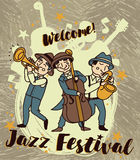 Jazz band in retro style, jazz festival poster Stock Image