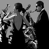 Jazz band with singer Stock Images
