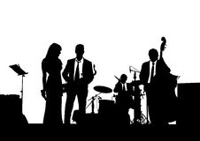 Jazz band on stage. Drawing of a jazz band on stage stock illustration