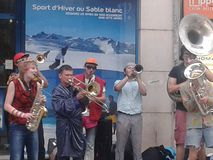 Jazz band in the street lyon. Famous jazz band play in the street Stock Photos