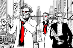 Jazz band in a street of new-York. Illustration of a jazz band in a street of new-York Royalty Free Stock Images
