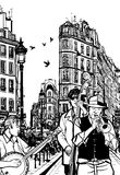Jazz band in a street of Paris royalty free illustration