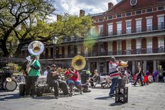 Jazz Band in the Streets of New Orleans stock photos
