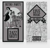 jazz-band sur des affiches de partie Images libres de droits