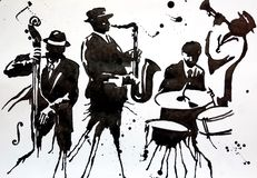 Jazz band. Jazz Swing Orchestra. Silhouettes. International Jazz Day It is celebrated annually on April 30. Drawing, black mascara on paper. Naive Art stock illustration