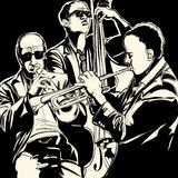 Jazz band with  trumpet and double bass Royalty Free Stock Image