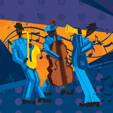 Jazz Band. A jazz band with a trumpet player, bassist, and saxophonist over a decorative grunge background royalty free illustration