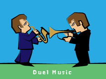 Jazz band with a Trumpet player Duel Saxophonist : Vector. Stock Photo
