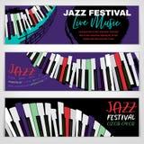 Jazz Banners Set stock illustrationer