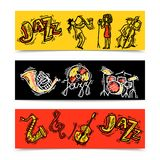 Jazz Banners Set Fotografia Stock