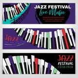 Jazz Banners set. Jazz festival banners with a piano keyboard in bright colors. Editable vector illustration. Horizontal image in a modern style useful for Stock Images