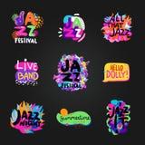 Jazz Blackboard Set Lizenzfreies Stockfoto