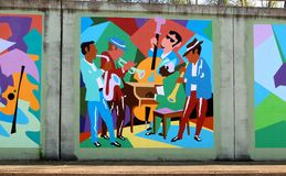 Jazz and Blues Band Mural On James Road in Memphis, Tennessee. Beautiful local artist mural rendering of a Rhythm and Blues Band performing on a bridge Royalty Free Stock Photos