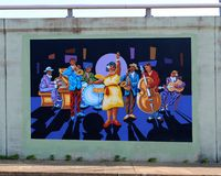 Jazz Blues Big Band Mural On James Road in Memphis, Tennessee. Beautiful local artist mural rendering of a Rhythm and Blues Orchestra performing on a bridge Stock Photo